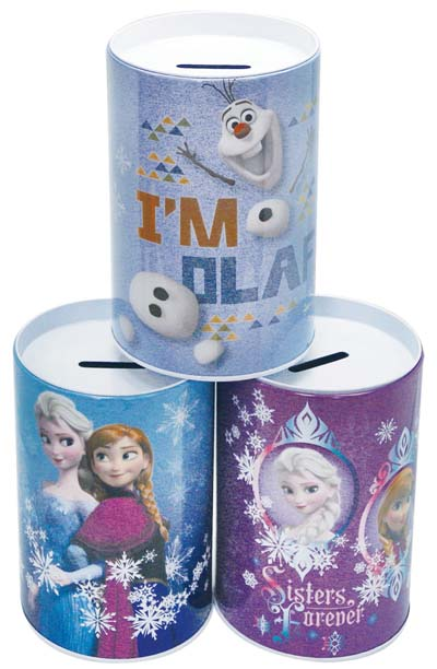 View DISNEY FROZEN TIN SAVINGS BANK 6 INCH IN DISPLAY ASSORTED DESIGNS