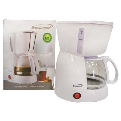View BRENTWOOD COFFEE MAKER 4 CUP WHITE CETLUS LISTED