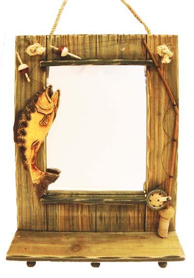 View HANGING WALL MIRROR W/ FISH DECO 19.5 X 13.5 INCH WITH HOOKS WOODEN