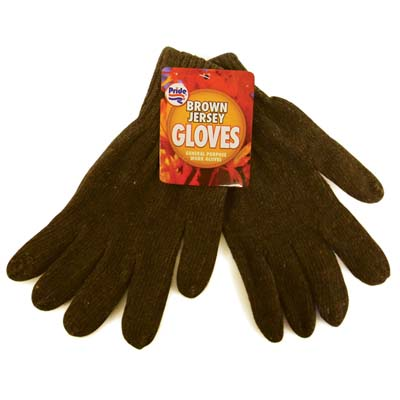 View BROWN JERSEY GLOVES 1 PAIR