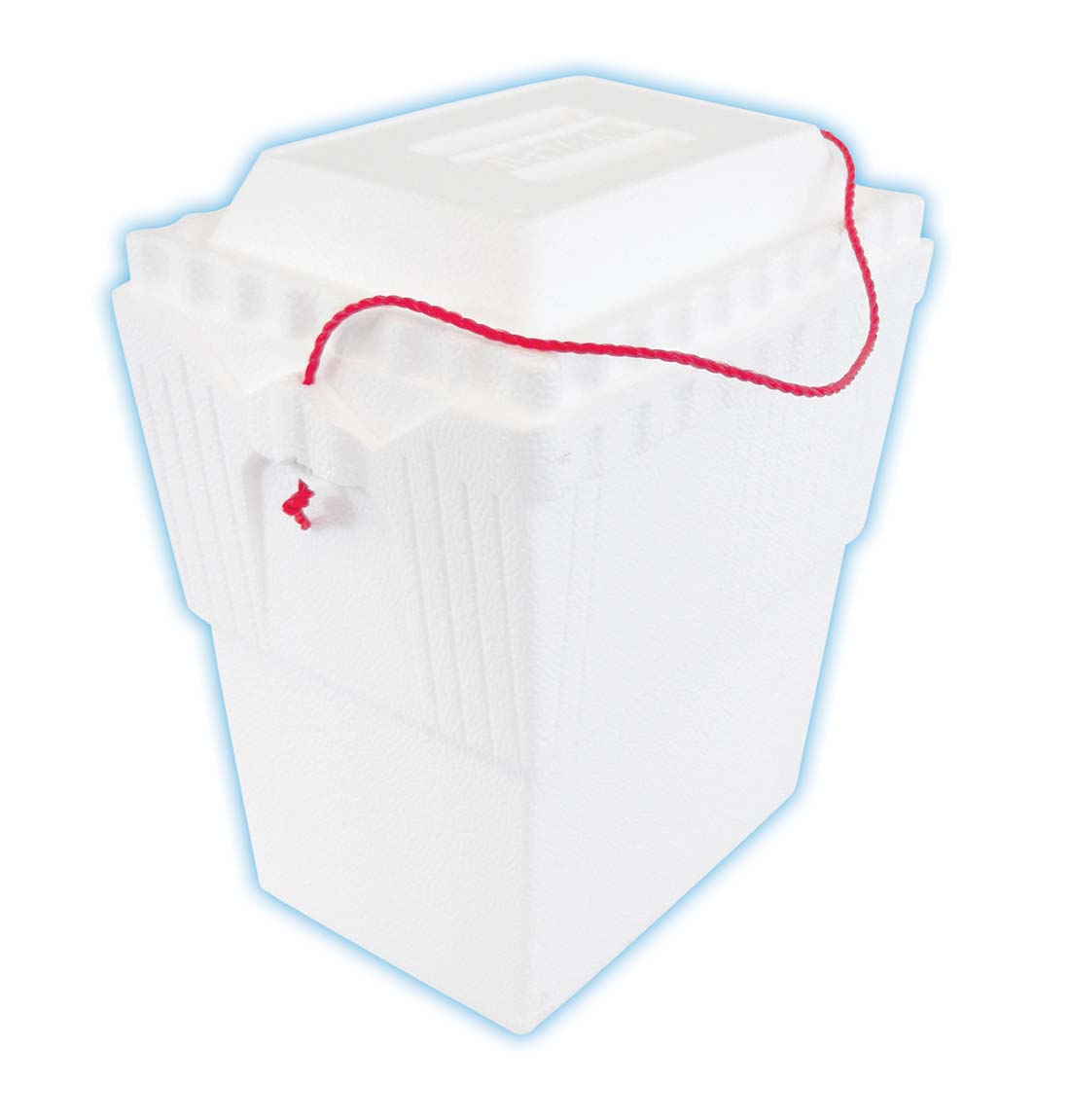 "View STYROFOAM COOLER WITH ROPE HANDLE 11 1/2"" X 8"" X 13 1/4"" HOLDS 12 CANS WHITE"