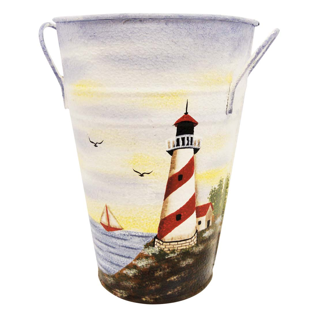 "View DECORATIVE LIGHTHOUSE TIN BUCKET SMALL 7"" HAND PAINTED"