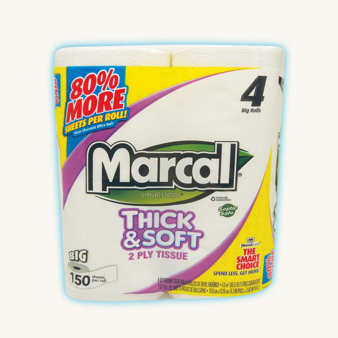 View MARCAL BATH TISSUE 4 PACK 150-2 PLY SHEETS THICK & SOFT