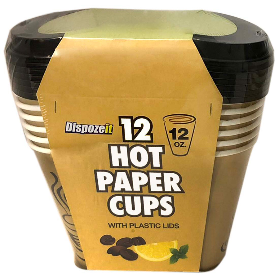 View HOT PAPER CUP 12 OUNCES 12 CUPS + 12 LIDS