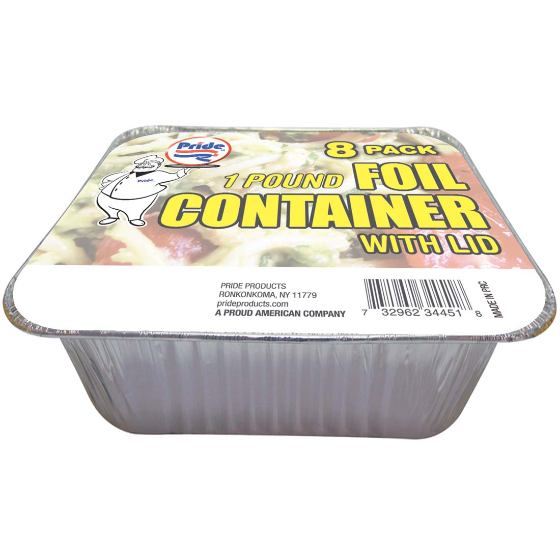 View FOIL CONTAINER OBLONG 1 POUND WITH BOARD LID 8 PACK