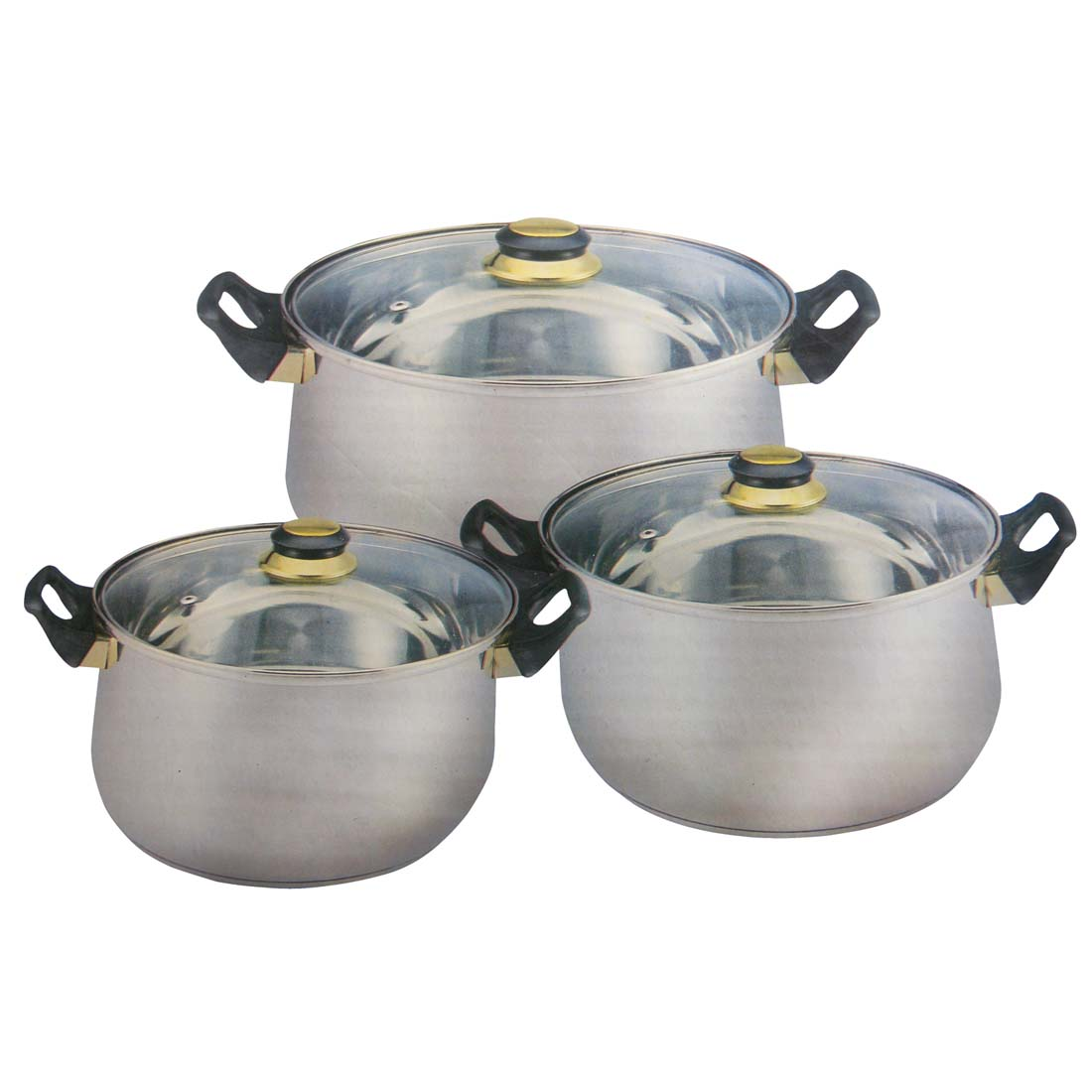 View COOKING SET 3 POTS WITH GLASS COVERS 69 AND 22 CUP