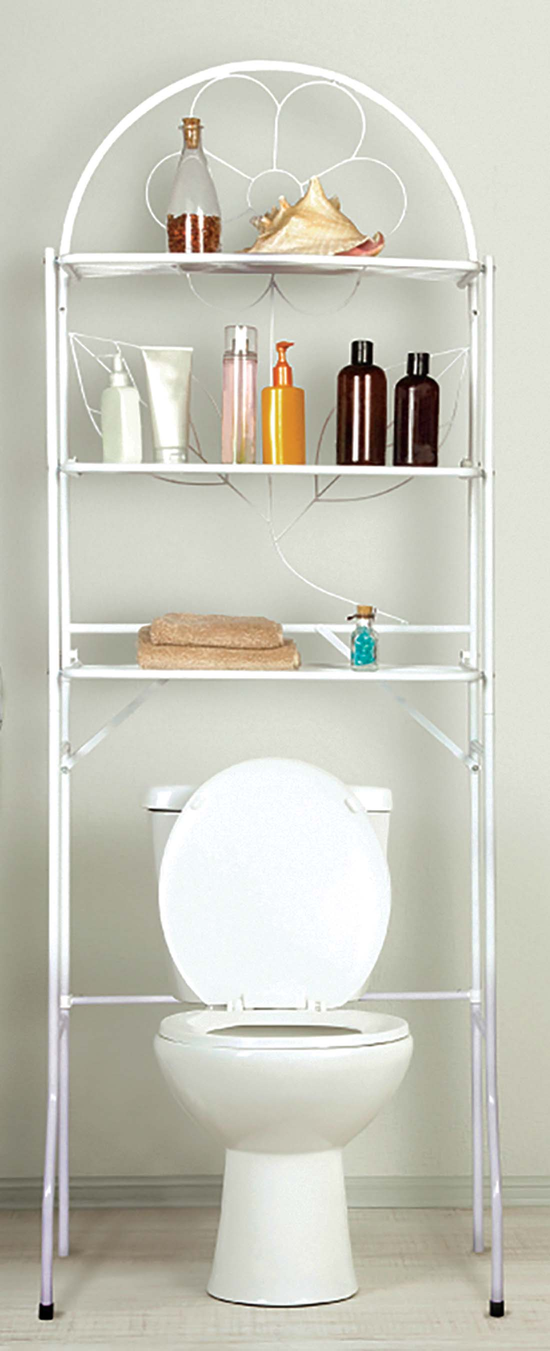 View BATHROOM SPACE SAVER 3 SHELF 24.5X14X68.71 INCHES WHITE