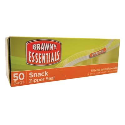 View BRAWNY ESSENTIALS SNACK BAG 50 COUNT 6.5 X 3.25 INCHES ZIPPER SEAL