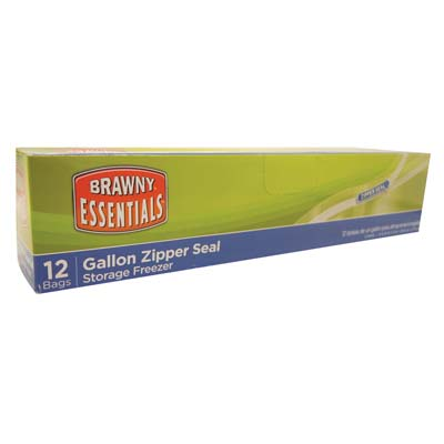 View BRAWNY ESSENTIALS FREEZER BAG 12 COUNT GALLON 11 X 11 INCHES ZIPPER SEAL