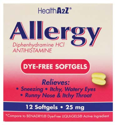 "View ALLERGY DYE-FREE SOFTGELS 12 COUNT 25 MG ""COMPARE TO BENEDRYL SOFTGELS"""