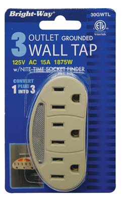 "View BRIGHT-WAY 3 PRONG WALL OUTLET WITH NIGHT LIGHT 125V 15A ""ETL LISTED"""