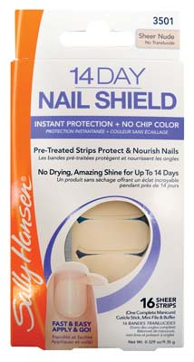 View SALLY HANSEN 14 DAY NAIL SHIELD COMPLETE MANICURE KIT (INCLUDES 16 SHEER STRIPS/ CUTICLE STICK/ MINI-FILE & BUFFER)