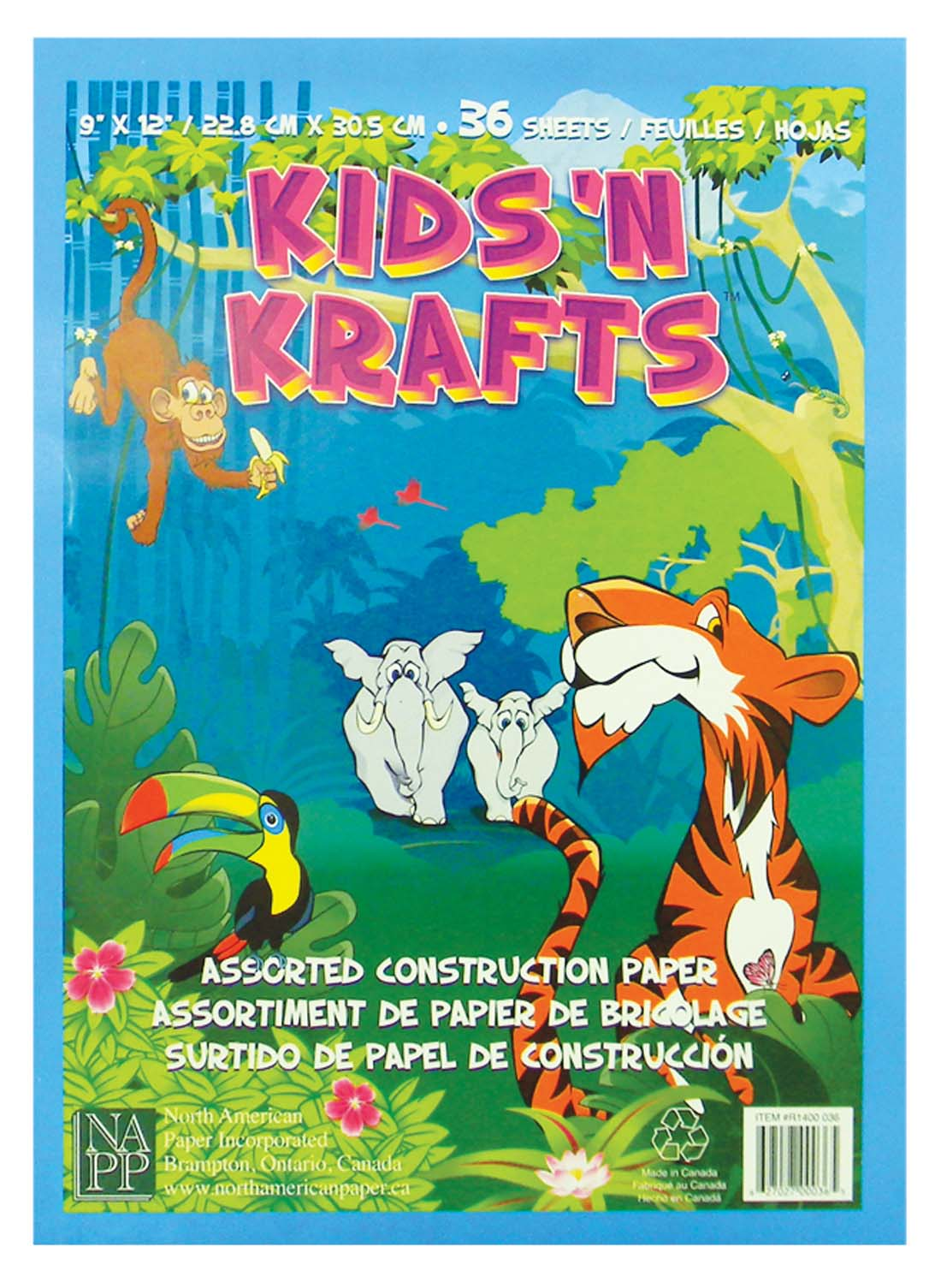 View KIDS'N KRAFTS CONSTRUCTION PAPER 36 SHEETS 9 X 12 INCH ASSORTED COLORS