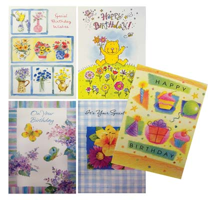 View BIRTHDAY CARDS 10 PACK WITH ENVELOPES 5 ASSORTED DESIGNS IN RECLOSEABLE BAG
