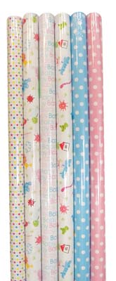 View BABY SHOWER GIFT WRAP 30 X 48 INCH 10 SQ FT ASSORTED DESIGNS IN DISPLAY