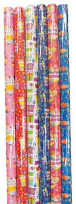 View BIRTHDAY GIFT WRAP 30 X 48 INCH 10 SQ FT IN DISPLAY