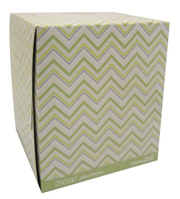 View SELECT FACIAL TISSUE 66-3 PLY SHEETS EXTRA SOFT CUBE PLUS LOTION **MADE IN USA** (MUST BE BROKEN)