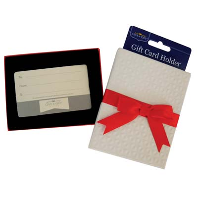 View GIFT CARD HOLDER WITH RED BOW 4.5 X 3.5 INCH WHITE