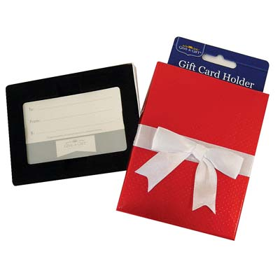 View GIFT CARD HOLDER WITH WHITE BOW 4.5 X 3.5 INCH RED