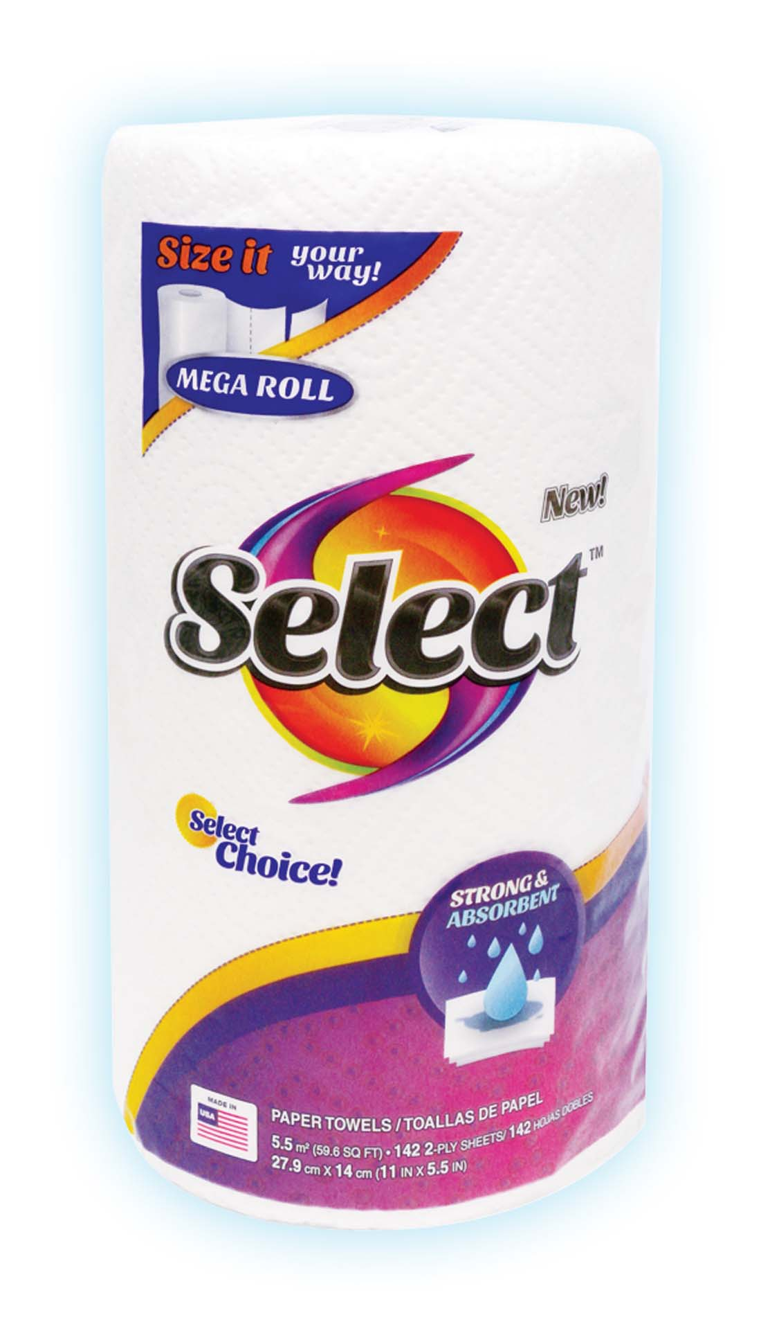View SELECT PAPER TOWEL 2PLY 142CT MEGA ROLL SELECT A SIZE
