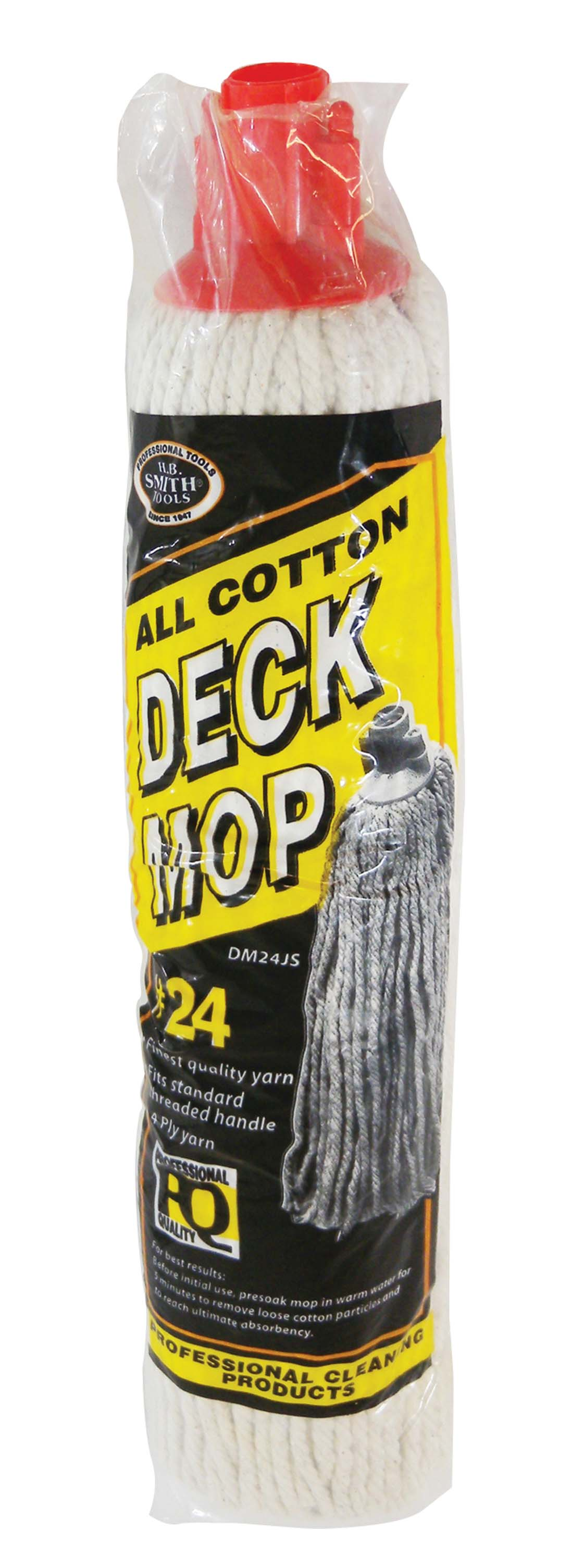 View COTTON DECK MOP HEAD 12 OZ FINEST QUALITY 4 PLY YARN # 24 THREADED HANDLE