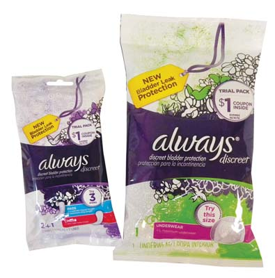 View ALWAYS DISCREET BLADDER PROTECTION DISPLAY INCLUDES TRIAL PACK 3 CT PADS & LINERS/ TRIAL PACK UNDERWEAR ASSORTED SIZES