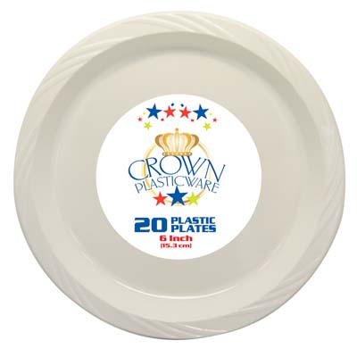 View CROWN PLASTICWARE PLATE 20 CT 6 INCH WHITE