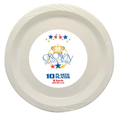 View CROWN PLASTICWARE PLATE 10 CT 9 INCH WHITE