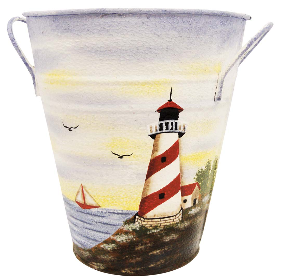 "View DECORATIVE TIN BUCKET SET 7"" TALL X 6"" WIDE HAND PAINTED LIGHT HOUSE THEME W/ HANDLES"