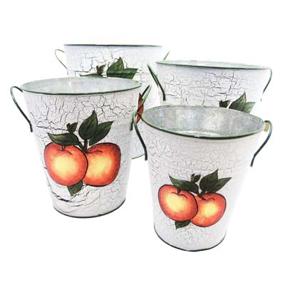"View DECORATIVE TIN BUCKET SET 4 SIZES HAND PAINTED PEACH DES. 8.50""TALLX7.50""WIDE7.5 TALLX7""WIDE6.50""TALL X6"" WIDE6""TALLX5""WIDE"