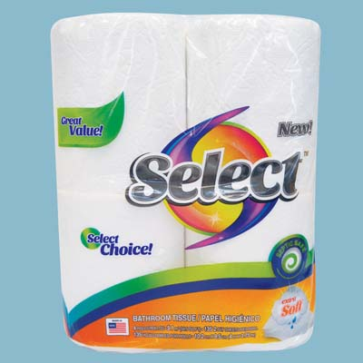 View SELECT BATH TISSUE 4 PACK 135-2 PLY SHEETS