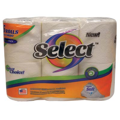 View SELECT BATH TISSUE 6 PACK 135-2 PLY  SHEETS EXTRA SOFT **MADE IN USA**
