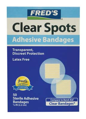 View FAMOUS BRANDS ADHESIVE SPOT BANDAGES 50 COUNT 7/8 INCH CLEAR