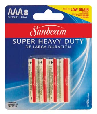 "View SUNBEAM SUPER HEAVY DUTY BATTERIES 8 PACK AAA ""EXPIRATION 06/2019"""