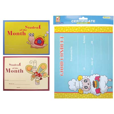 View STUDENT OF THE MONTH CERTIFICATE 15 SHEET 8.5 X 11 INCH ASSORTED DESIGNS