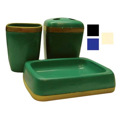 View BATHROOM SET 3 PIECE INCLUDES PLASTIC DRINKING CUP/TOOTHBRUSH HOLDER & SOAP TRAY ASSORTED COLORS