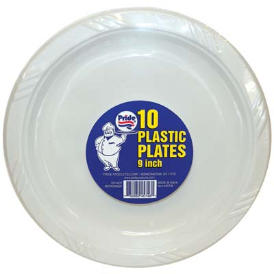 View PLASTIC PLATES 10 CT 9 INCH WHITE