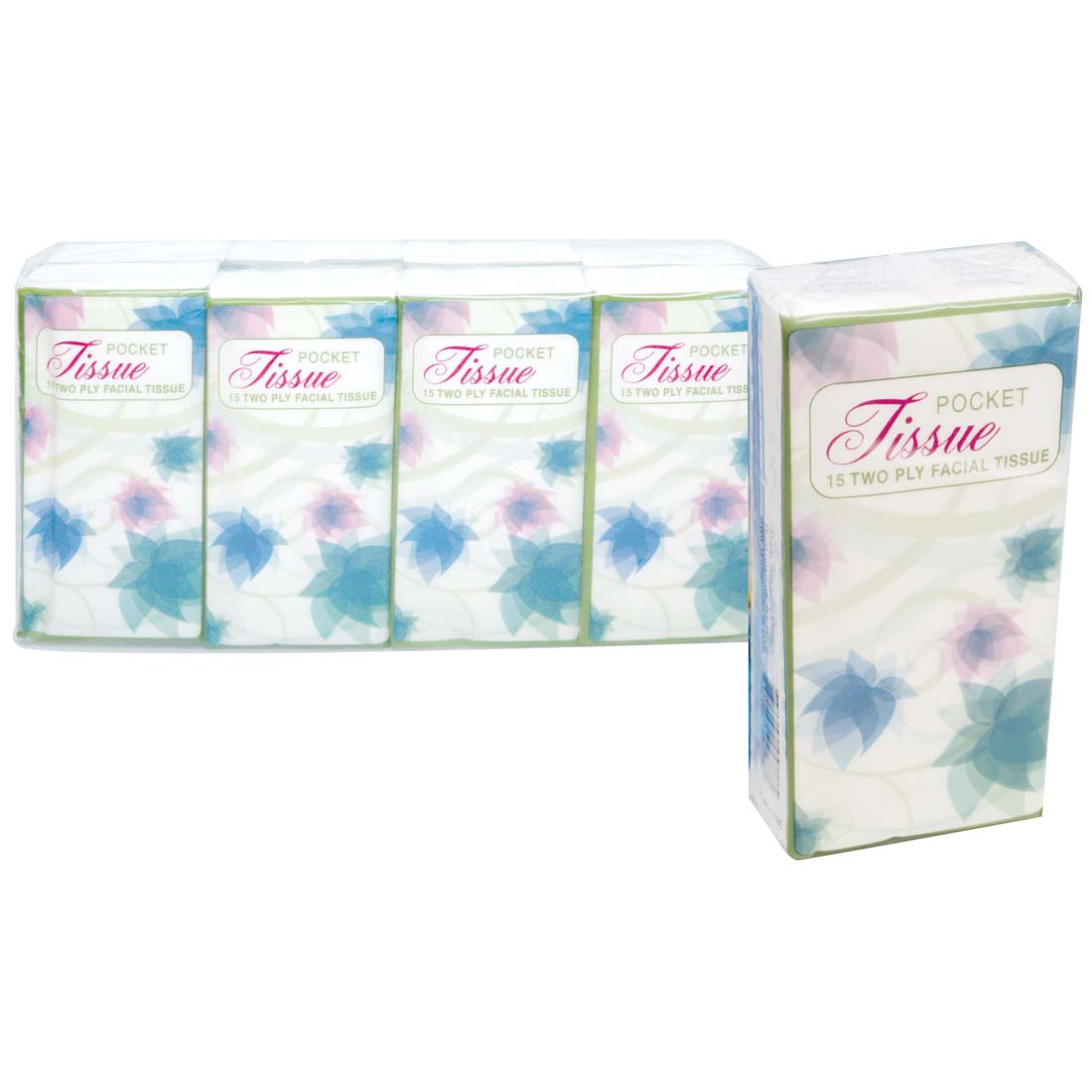 View POCKET TISSUE 8 PACK 15-2 PLY SHEETS FLORAL DESIGN