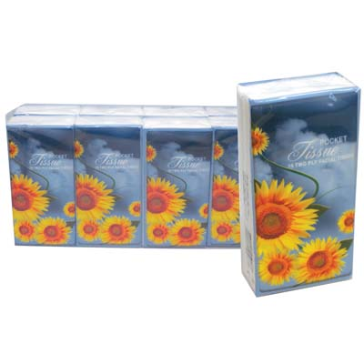 "View POCKET TISSUE 8 PACK 15-2 PLY SHEETS SUNFLOWER DESIGN ""MUST BE BROKEN"""