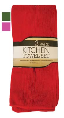 View KITCHEN TOWEL 3 PK 15 X 25 INCH MICROFIBER ASSORTED SOLID COLORS