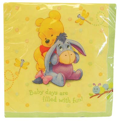View DISNEY POOH NAPKINS 16 COUNT BABY DAYS DESIGN