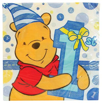 View DISNEY POOH NAPKINS 16 COUNT FIRST BIRTHDAY BLUE