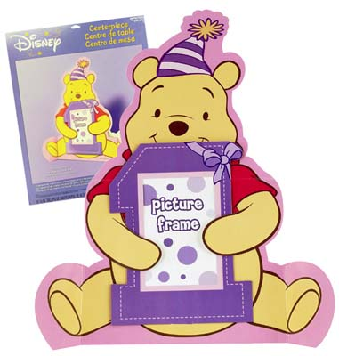 View DISNEY POOH TABLE CENTERPIECE 17.5 INCH 1ST BIRTHDAY PICTURE FRAME DESIGN