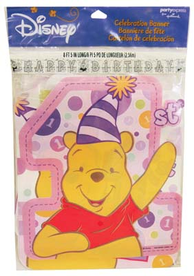 View DISNEY POOH BANNER 5 X 96 INCH 1ST BIRTHDAY FOR GIRLS