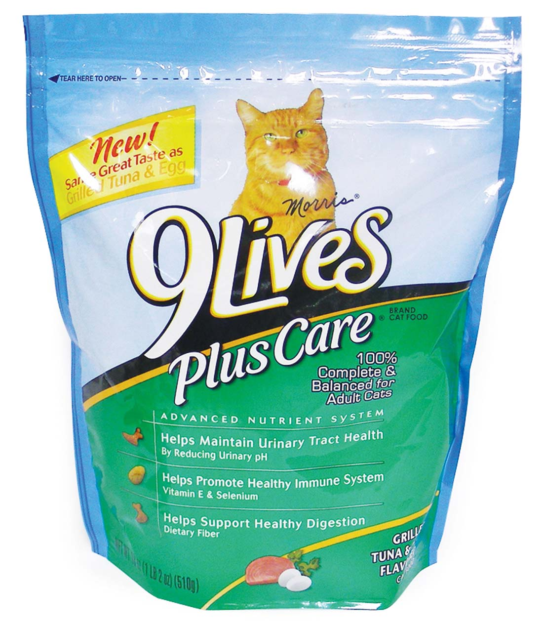View 9 LIVES DRY CAT FOOD 18 OZ PLUS CARE TUNA & EGG