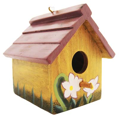 View HANGING BIRD HOUSE 3.5 INCH TALL WOOD