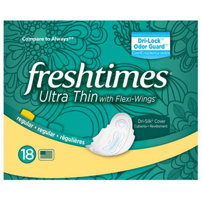 View FRESHTIMES MAXI PADS 18 COUNT ULTRATHIN WITH WINGS REGULAR