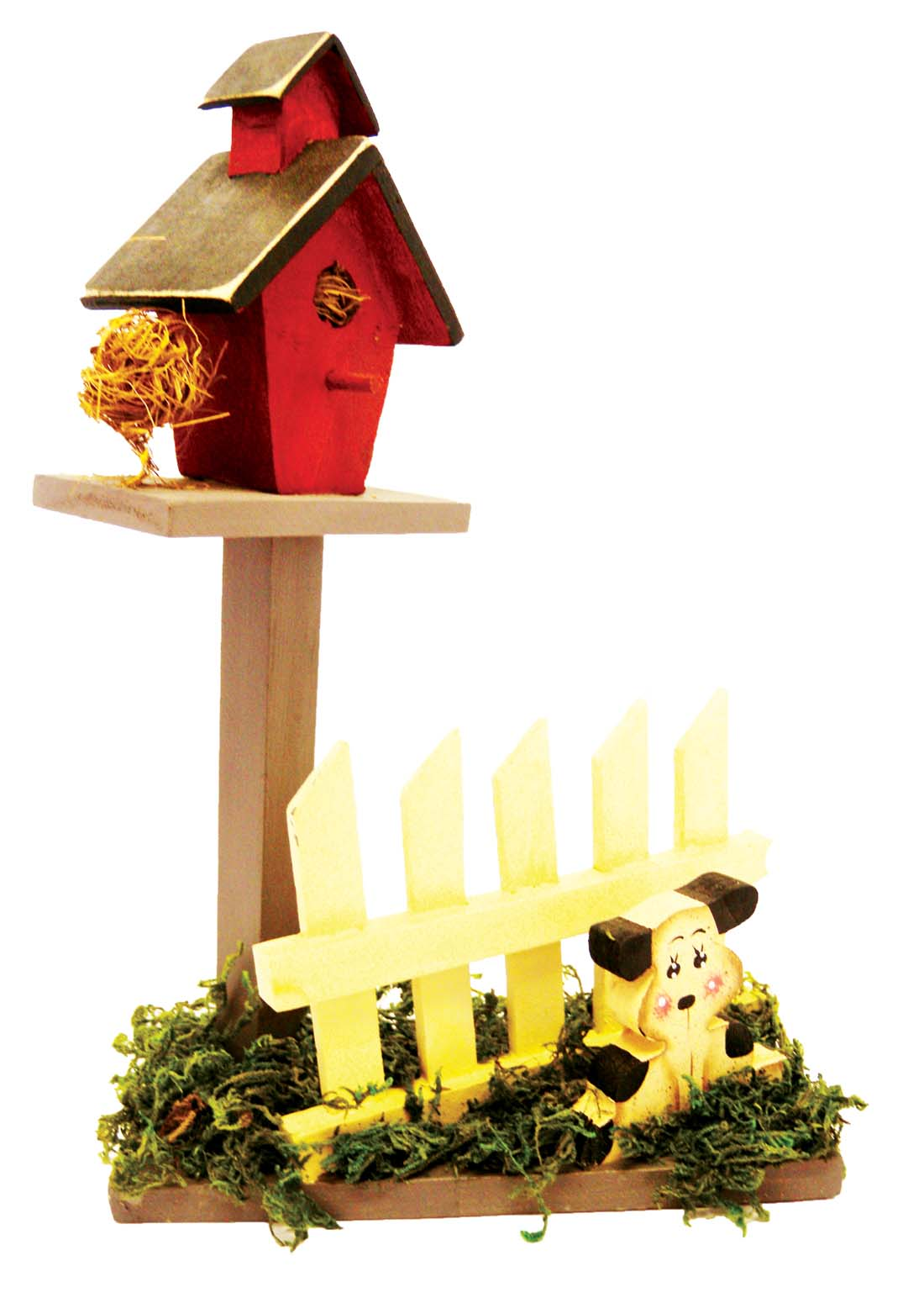 View DECORATIVE WOODEN BIRD HOUSE ON PICKET FENCE & GRASS DECO HAND PAINTED ASST. ANIMALS 10 INCHES TALL