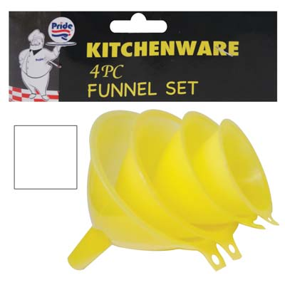 View FUNNEL SET 4 PK INCLUDES 4.5/4/3.5 & 2.5 INCHES WHITE & YELLOW
