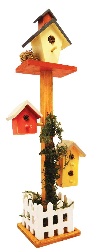 View DECORATIVE WOOD 3 MINI BIRDHOUSES ON TALL PEDESTAL PICKET FENCE DECO. 14.5""